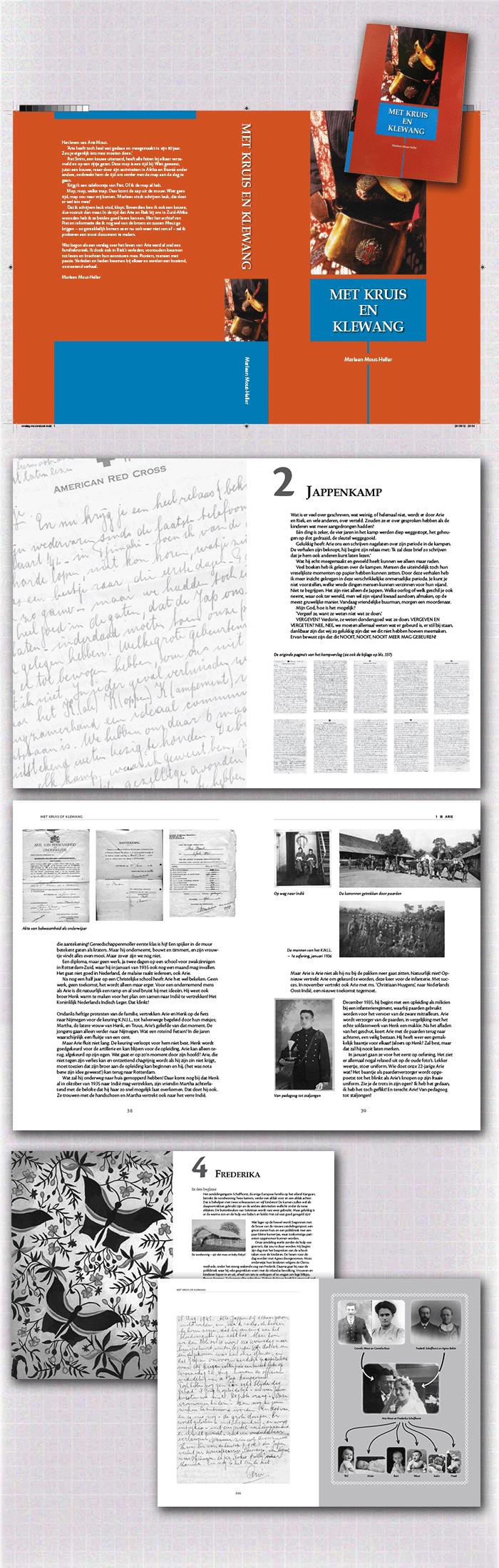 cover en spreads boek Met kruis en klewang, een voorbeeld van publiceren in eigen beheer