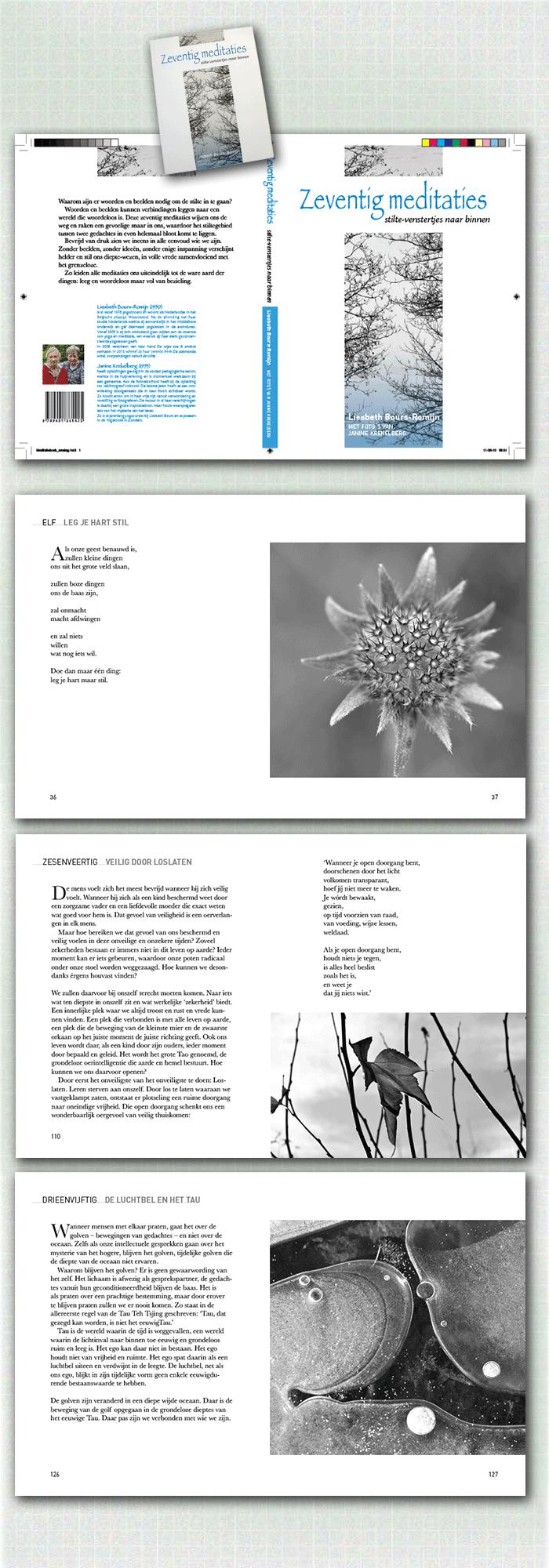 cover en spreads uit boek Zeventig meditaties, een voorbeeld van publiceren in eigen beheer