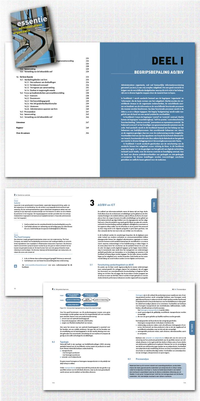 spreads binnenwerk boek De essentie van administratieve organisatie, een van de educatieve uitgaven gepubliceerd door uitgeverij Coutinho