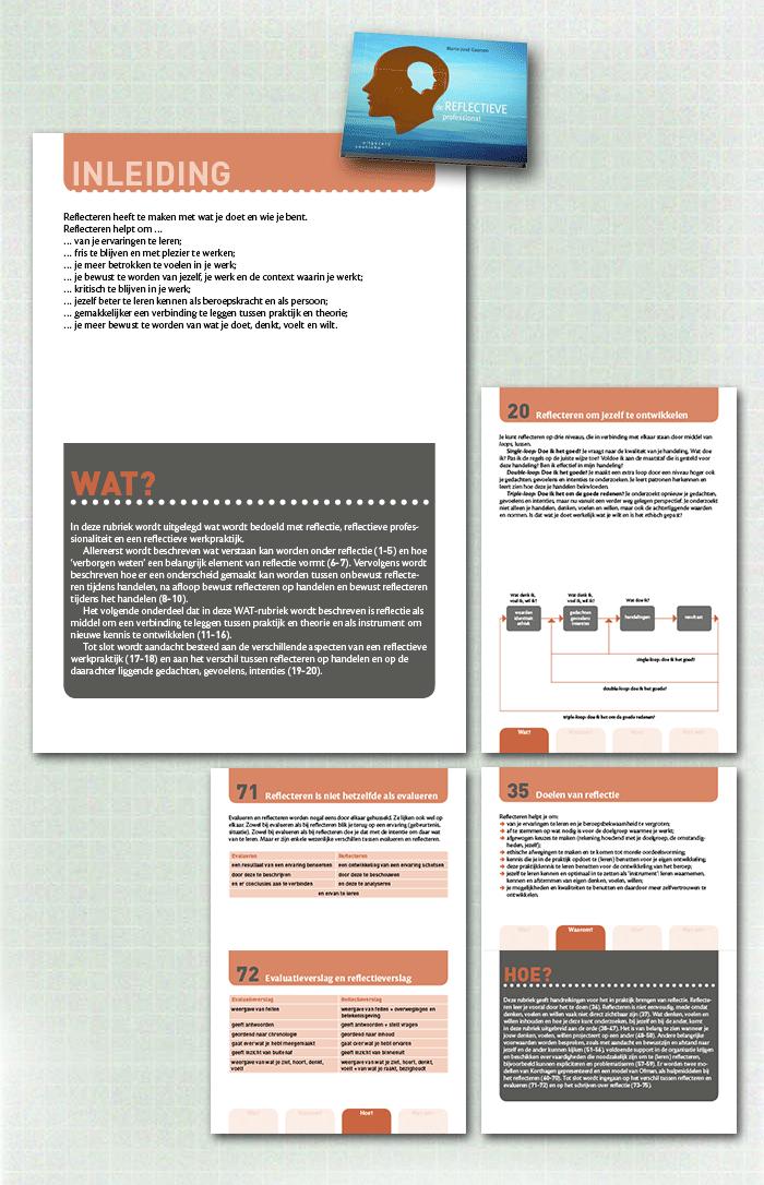 spreads binnenwerk boek De reflectieve professional, een van de educatieve uitgaven gepubliceerd door uitgeverij Coutinho
