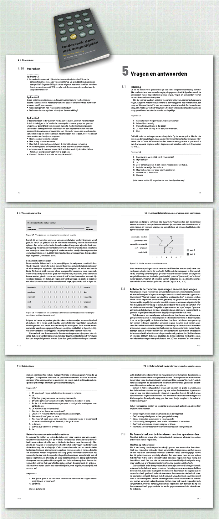 spreads binnenwerk boek Onderzoek doen met vragenlijsten, een voorbeeld uit de categorie zelfstandige publicaties en studieboeken uitgegeven door VU University Press