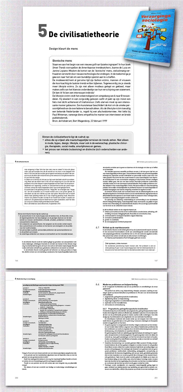spreads binnenwerk boek Verzorgingssociologie, een van de educatieve uitgaven gepubliceerd door uitgeverij Coutinho